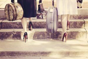 high heels suitcase women
