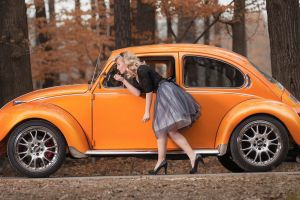 high heels trees long hair women outdoors old car blonde women black outfits stiletto model forest car nature volkswagen beetle skirt