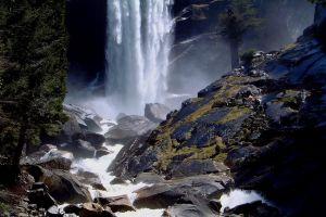 hiking rock mist yosemite national park nature waterfall landscape trees