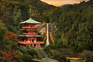 hills building water fall forest sunset trees japan clouds mountains nature japanese garden waterfall rock stairs