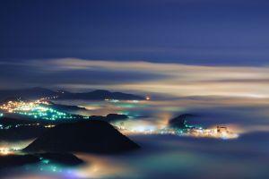 hills city mist clouds taipei cyan evening landscape nature night mountains lights city lights
