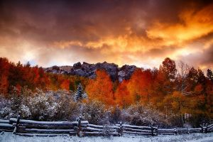 hills forest trees clouds fall nature landscape fence snow