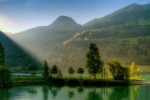 hills lake sunlight switzerland landscape nature