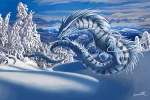 hills snow clouds forest digital art fantasy art winter trees mountains nature dragon
