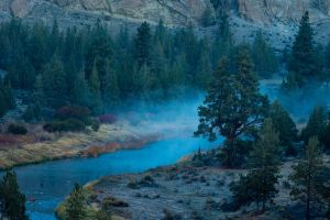 hills water forest shrubs mountains grass oregon mist trees landscape morning blue nature river turquoise