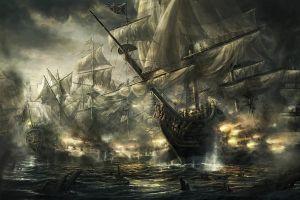 history war painting battle sailing ship artwork