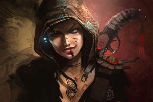 hoods fantasy girl necklace futuristic fantasy art