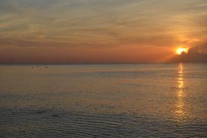 horizon birds sea sun sunset sky water sun rays