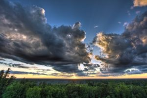 horizon landscape clouds sunset trees