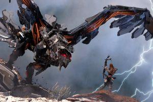 horizon: zero dawn aloy (horizon: zero dawn) science fiction bow robot lightning video games archer