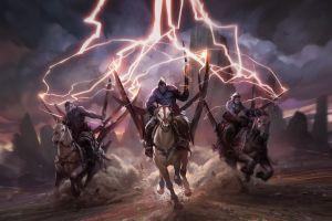 horse fantasy art warrior