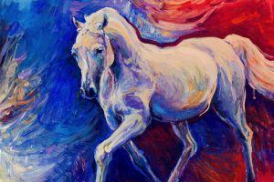 horse painting animals mammals colorful artwork