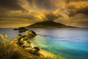 house landscape peninsula clouds grass nature philippines volcano sunset sea trees beach island mountains