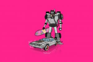 hoverboard minimalism pink crossover back to the future delorean transformers car