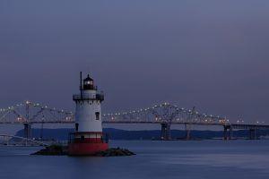 hudson river lighthouse landscape coast bridge