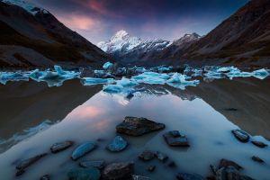 ice calm mountains nature new zealand snowy peak lake reflection blue water landscape