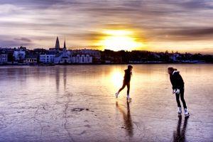 ice ice skate cityscape sunset