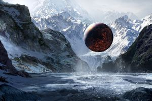 ice mountains planet sphere