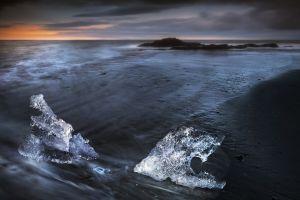 iceland coast clouds landscape long exposure sunset nature ice sea sand water waves beach horizon rock