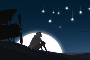 illustration adobe illustrator sahara the little prince movies landscape moonlight stars airplane