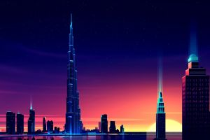illustration colorful dubai night burj khalifa skyscraper romain trystram cityscape sunset pixels lights