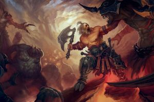 illustration painting fantasy art barbarian diablo iii