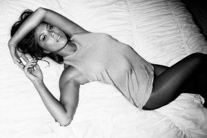in bed women monochrome legs model olivia munn
