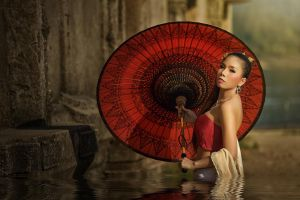 in water parasol strapless dress bare shoulders brunette red tops looking at viewer women asian