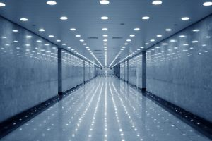 indoors modern building lights architecture hallway empty  reflection wall