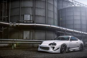 industrial toyota supra toyota vehicle silver cars car
