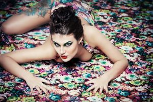 inked girls red lipstick women lying on front makeup eyeshadow brunette