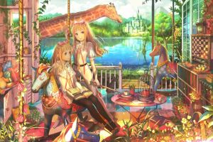 interior fuji choko room flowers long hair anime giraffes anime girls blonde