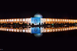 iran reflection architecture night water isfahan