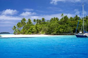 island nature tropical sand boat kayaks palm trees sailboats