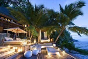 island tropical palm trees sea