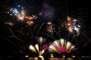 italy holiday fireworks new year landscape lights night lake