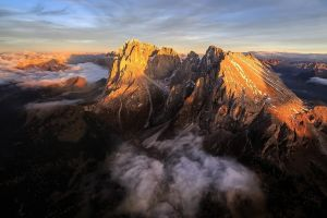 italy mountains dolomites (mountains) clouds aerial view landscape nature alps