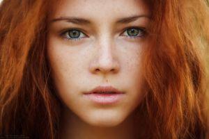 ivan warhammer hazel eyes face women redhead freckles
