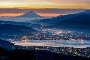 japan city mist evening city lights mount fuji ports blue lights nature cityscape landscape mountains valley sea