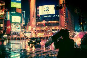 japan night rain city street light
