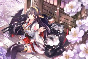 japanese clothes anime kantai collection haruna (kancolle) cherry blossom thigh-highs long hair black hair miko anime girls