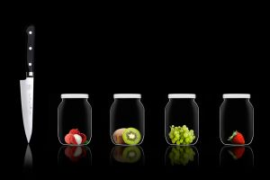 jars knife simple kiwi (fruit) grapes fruit black background glasses black lychee strawberries