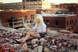 jean shorts women women outdoors legs shorts blonde piercing bricks shirt
