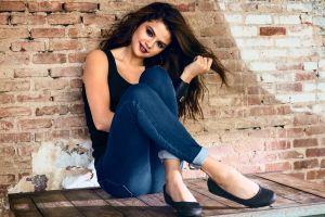 jeans looking at viewer selena gomez celebrity ballet slippers women brunette