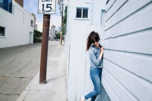 jeans ponytail jean jacket brunette women with shades depth of field women