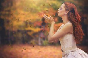jewelry profile redhead white dress dress women outdoors women fall side view depth of field leaves