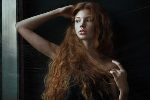 juicy lips face scratches bare shoulders model women wavy hair freckles open mouth long hair redhead arms up window looking away