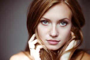 juicy lips gray background women portrait blonde closeup blue eyes face hands in hair