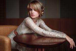 juicy lips model georgy chernyadyev blue eyes dress portrait women blonde anastasia scheglova