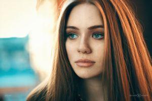 juicy lips women blue eyes redhead face portrait